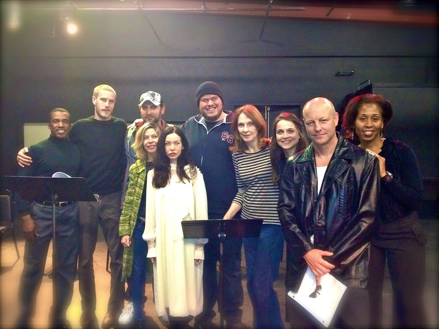 Live Girls cast with writer Tim Cummings and director Gates McFadden